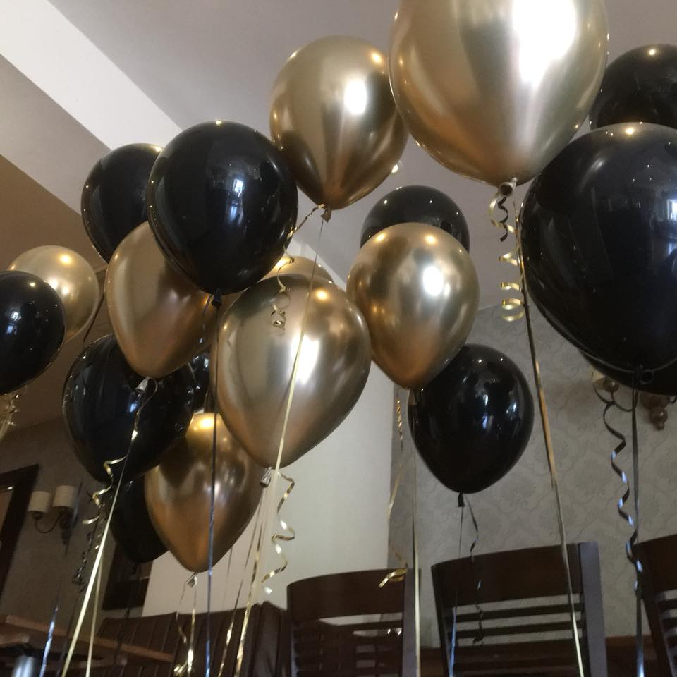Gold Chrome And Black Simply Balloons Teesside 183 Free